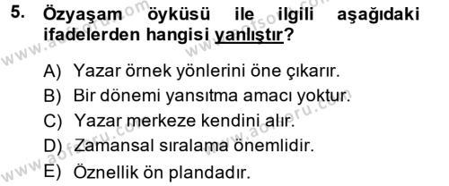Kültürel Miras ve Turizm Bölümü 4. Yarıyıl Türk Dili II Dersi 2014 Yılı Bahar Dönemi Tek Ders Sınavı 5. Soru