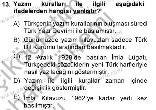 Türk Dili 2 Dersi 2014 - 2015 Yılı (Vize) Ara Sınavı 13. Soru