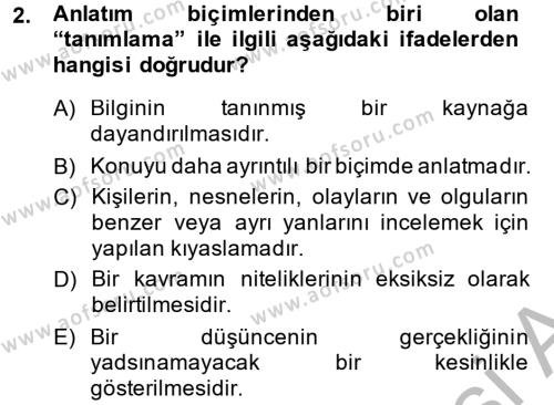 Ev İdaresi Bölümü 4. Yarıyıl Türk Dili II Dersi 2015 Yılı Bahar Dönemi Ara Sınavı 2. Soru