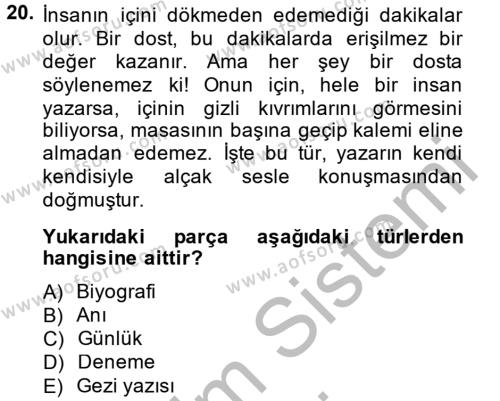 Türk Dili 2 Dersi 2014 - 2015 Yılı (Vize) Ara Sınavı 20. Soru