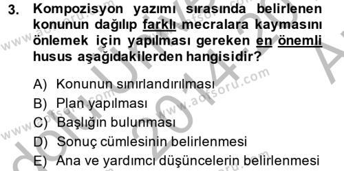 Ev İdaresi Bölümü 4. Yarıyıl Türk Dili II Dersi 2015 Yılı Bahar Dönemi Ara Sınavı 3. Soru