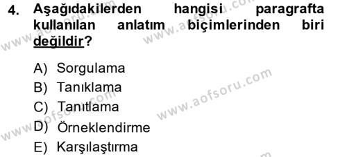 Ev İdaresi Bölümü 4. Yarıyıl Türk Dili II Dersi 2015 Yılı Bahar Dönemi Ara Sınavı 4. Soru