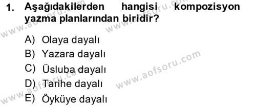 Dış Ticaret Bölümü 4. Yarıyıl Türk Dili II Dersi 2015 Yılı Bahar Dönemi Dönem Sonu Sınavı 1. Soru