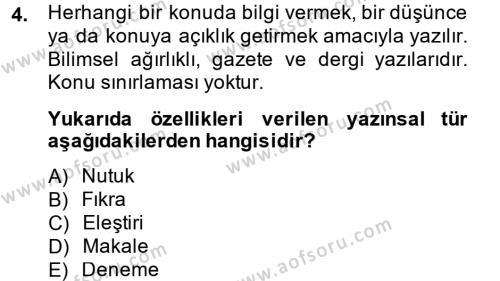 Medya ve İletişim Bölümü 4. Yarıyıl Türk Dili II Dersi 2015 Yılı Bahar Dönemi Dönem Sonu Sınavı 4. Soru