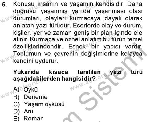 Medya ve İletişim Bölümü 4. Yarıyıl Türk Dili II Dersi 2015 Yılı Bahar Dönemi Dönem Sonu Sınavı 5. Soru