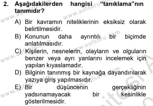 Türk Dili 2 Dersi 2014 - 2015 Yılı Tek Ders Sınav Soruları 2. Soru