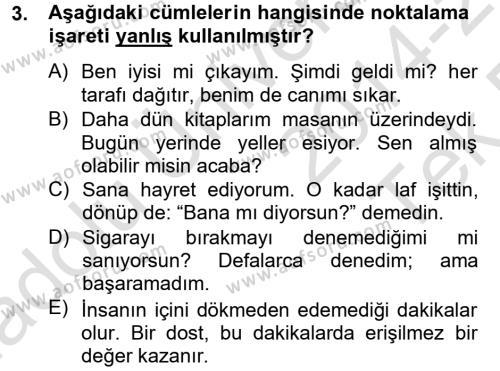 Türk Dili 2 Dersi 2014 - 2015 Yılı Tek Ders Sınav Soruları 3. Soru