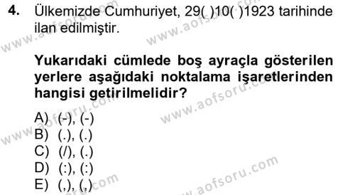 Türk Dili 2 Dersi 2014 - 2015 Yılı Tek Ders Sınav Soruları 4. Soru