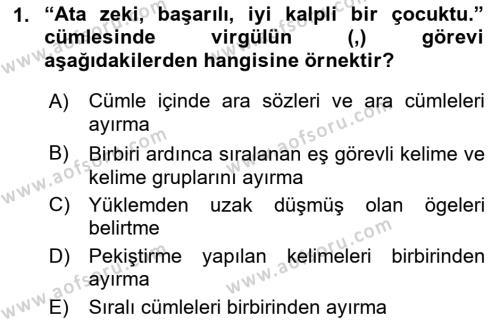 Yerel Yönetimler Bölümü 4. Yarıyıl Türk Dili II Dersi 2016 Yılı Bahar Dönemi Ara Sınavı 1. Soru