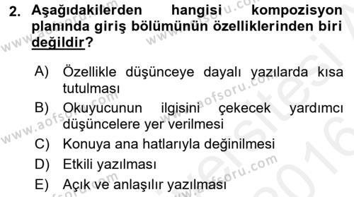 Yerel Yönetimler Bölümü 4. Yarıyıl Türk Dili II Dersi 2016 Yılı Bahar Dönemi Ara Sınavı 2. Soru