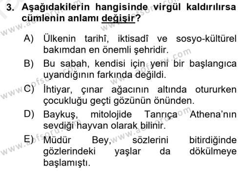 Yerel Yönetimler Bölümü 4. Yarıyıl Türk Dili II Dersi 2016 Yılı Bahar Dönemi Ara Sınavı 3. Soru