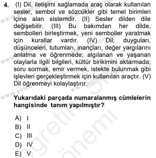 Yerel Yönetimler Bölümü 4. Yarıyıl Türk Dili II Dersi 2016 Yılı Bahar Dönemi Ara Sınavı 4. Soru