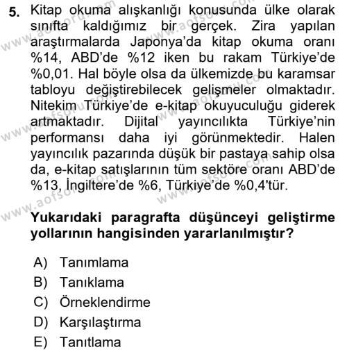 Yerel Yönetimler Bölümü 4. Yarıyıl Türk Dili II Dersi 2016 Yılı Bahar Dönemi Ara Sınavı 5. Soru