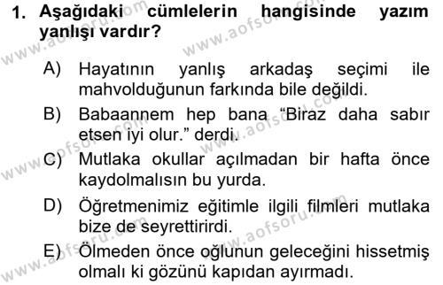 Türk Dili 2 Dersi 2015 - 2016 Yılı Dönem Sonu Sınavı 1. Soru