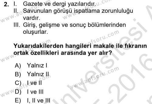 Bankacılık ve Sigortacılık Bölümü 4. Yarıyıl Türk Dili II Dersi 2016 Yılı Bahar Dönemi Dönem Sonu Sınavı 2. Soru
