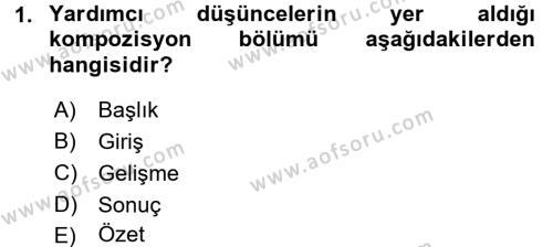 Türk Dili 2 Dersi 2015 - 2016 Yılı Tek Ders Sınavı 1. Soru