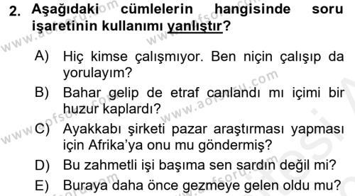 Türk Dili 2 Dersi 2015 - 2016 Yılı Tek Ders Sınavı 2. Soru