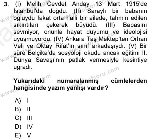 Türk Dili 2 Dersi 2015 - 2016 Yılı Tek Ders Sınavı 3. Soru