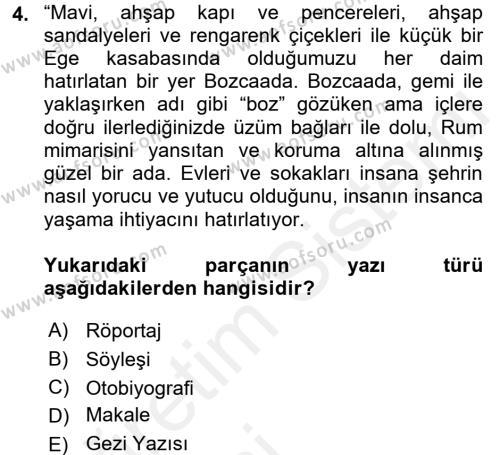Türk Dili 2 Dersi 2015 - 2016 Yılı Tek Ders Sınavı 4. Soru