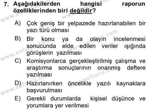 Türk Dili 2 Dersi 2015 - 2016 Yılı Tek Ders Sınavı 7. Soru