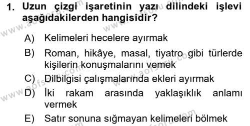 Çocuk Gelişimi Bölümü 4. Yarıyıl Türk Dili II Dersi 2017 Yılı Bahar Dönemi Ara Sınavı 1. Soru