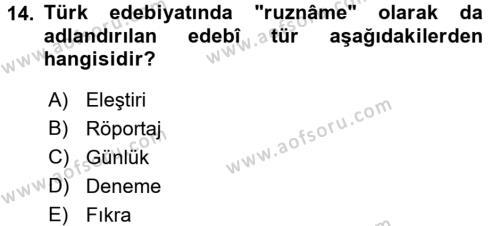 Türk Dili 2 Dersi Ara Sınavı Deneme Sınav Soruları 14. Soru