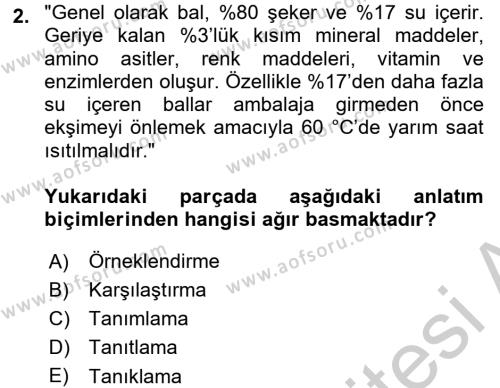 Çocuk Gelişimi Bölümü 4. Yarıyıl Türk Dili II Dersi 2017 Yılı Bahar Dönemi Ara Sınavı 2. Soru