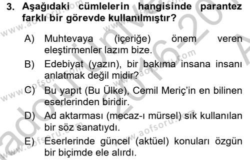 Çocuk Gelişimi Bölümü 4. Yarıyıl Türk Dili II Dersi 2017 Yılı Bahar Dönemi Ara Sınavı 3. Soru