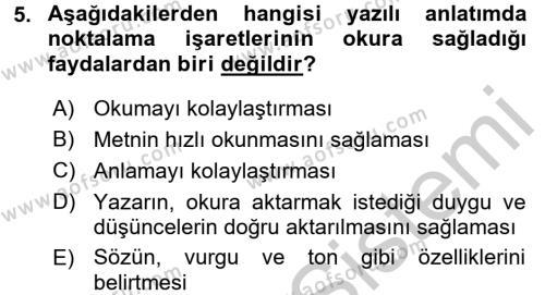 Çocuk Gelişimi Bölümü 4. Yarıyıl Türk Dili II Dersi 2017 Yılı Bahar Dönemi Ara Sınavı 5. Soru