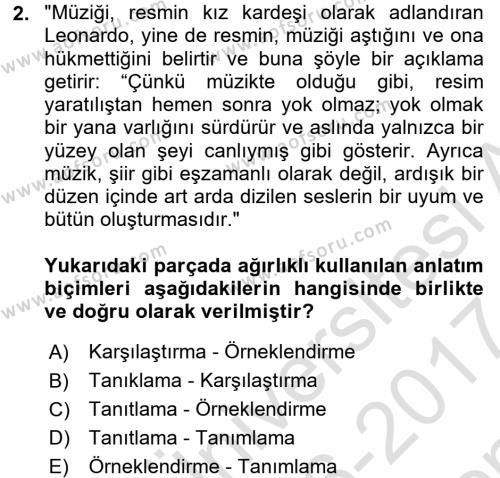 Çağrı Merkezi Hizmetleri Bölümü 4. Yarıyıl Türk Dili II Dersi 2017 Yılı Bahar Dönemi Dönem Sonu Sınavı 2. Soru