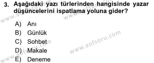 Kültürel Miras ve Turizm Bölümü 4. Yarıyıl Türk Dili II Dersi 2018 Yılı Bahar Dönemi Üç Ders Sınavı 3. Soru