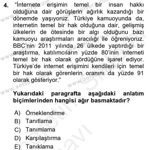 Kültürel Miras ve Turizm Bölümü 4. Yarıyıl Türk Dili II Dersi 2018 Yılı Bahar Dönemi Üç Ders Sınavı 4. Soru
