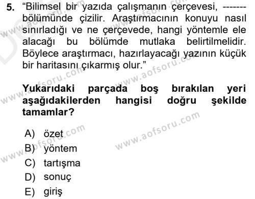 Kültürel Miras ve Turizm Bölümü 4. Yarıyıl Türk Dili II Dersi 2018 Yılı Bahar Dönemi Üç Ders Sınavı 5. Soru
