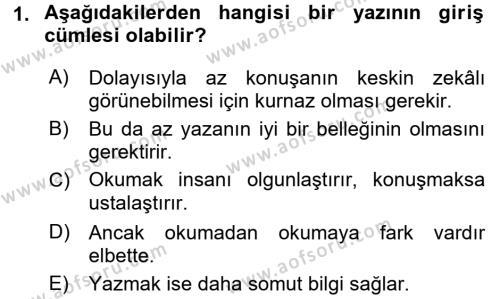 Türk Dili 2 Dersi 2017 - 2018 Yılı (Vize) Ara Sınavı 1. Soru