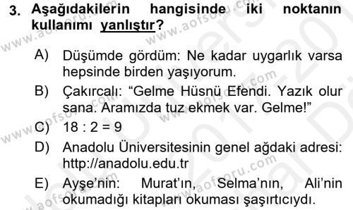 Türk Dili 2 Dersi 2017 - 2018 Yılı (Vize) Ara Sınavı 3. Soru