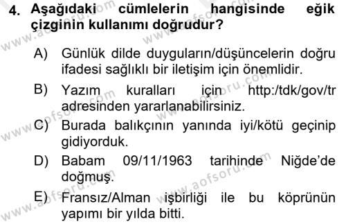 Türk Dili 2 Dersi 2017 - 2018 Yılı (Vize) Ara Sınavı 4. Soru