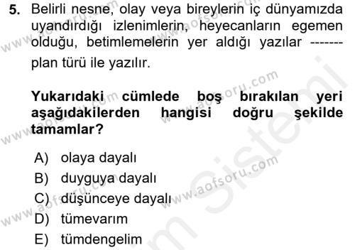 Türk Dili 2 Dersi Ara Sınavı Deneme Sınav Soruları 5. Soru
