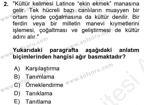 Türk Dili 2 Dersi 2017 - 2018 Yılı (Final) Dönem Sonu Sınav Soruları 2. Soru