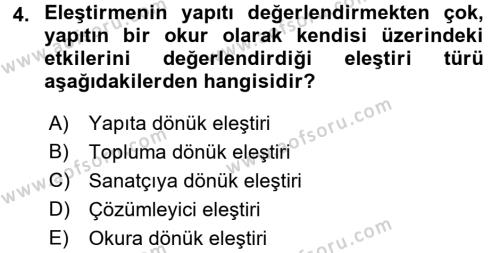 Türk Dili 2 Dersi 2017 - 2018 Yılı (Final) Dönem Sonu Sınav Soruları 4. Soru