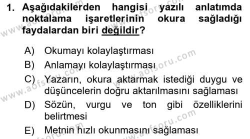 Türk Dili 2 Dersi 2018 - 2019 Yılı (Vize) Ara Sınav Soruları 1. Soru