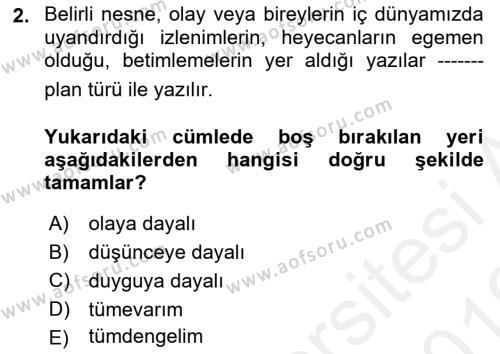 Türk Dili 2 Dersi 2018 - 2019 Yılı (Vize) Ara Sınav Soruları 2. Soru