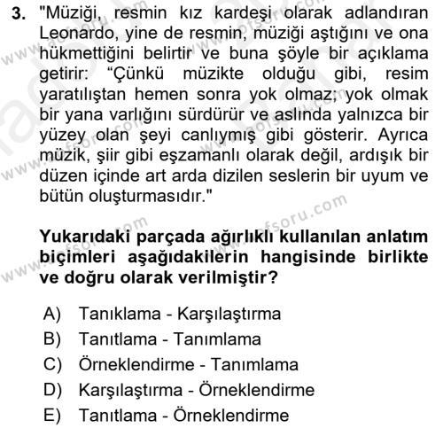 Türk Dili 2 Dersi 2018 - 2019 Yılı (Vize) Ara Sınav Soruları 3. Soru