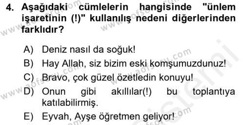Türk Dili 2 Dersi 2018 - 2019 Yılı (Vize) Ara Sınav Soruları 4. Soru
