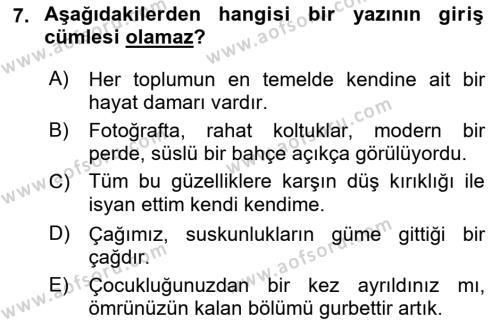 Türk Dili 2 Dersi Ara Sınavı Deneme Sınav Soruları 7. Soru