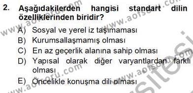 Türkçe Sözlü Anlatım Dersi 2012 - 2013 Yılı Ara Sınavı 2. Soru