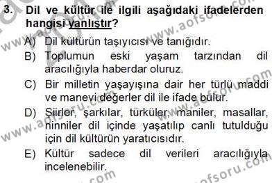 Türkçe Sözlü Anlatım Dersi 2012 - 2013 Yılı Ara Sınavı 3. Soru