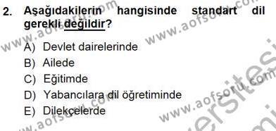 İngilizce Öğretmenliği Bölümü 3. Yarıyıl Türkçe Sözlü Anlatım Dersi 2013 Yılı Güz Dönemi Dönem Sonu Sınavı 2. Soru
