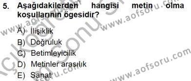 İngilizce Öğretmenliği Bölümü 3. Yarıyıl Türkçe Sözlü Anlatım Dersi 2013 Yılı Güz Dönemi Dönem Sonu Sınavı 5. Soru