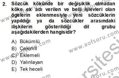 Türkçe Sözlü Anlatım Dersi 2013 - 2014 Yılı Ara Sınavı 2. Soru