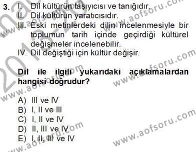 Türkçe Sözlü Anlatım Dersi 2013 - 2014 Yılı Ara Sınavı 3. Soru